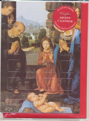 (Religious Advent Calendar Holy Christmas Greeting Card with Envelope Mary Joseph Baby Jesus with Wisemen Plus Xmas Holy Pamphlet and Cross Bookmark)
