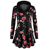 WOCACHI Final Clear Out Womens Floral Hoodies Hooded Pullover Blouses Swing Tunic Tops Pockets Black Friday Cyber Monday Sweatshirt Autumn Bottoming Shirts Long Sleeve (Black, Medium)