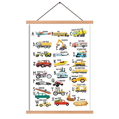 Natural Wood Magnetic Hanger Frame Posters- English Alphabet Canvas Wall Art Print Cartoon Traffic Tools Painting…