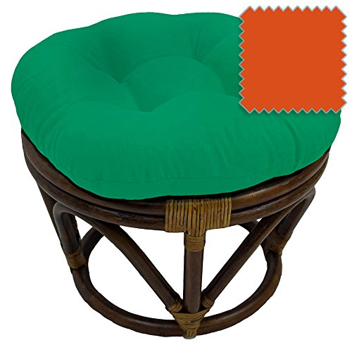 18-Inch Bali Rattan Papasan Footstool with Cushion - Solid Twill Fabric, Tangerine Dream - DCG Stores Exclusive