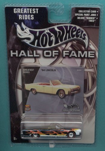 Mattel Hot Wheels 2002 Hall Of Fame Greatest Rides 1:64 Scale 35th Anniversary Black With Flames 1964 Lincoln Die Cast Car