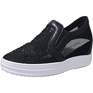 29067cd2d6063 Amazon.com | Womens Wedge Sneakers Breathable Fashion Rhinestone ...