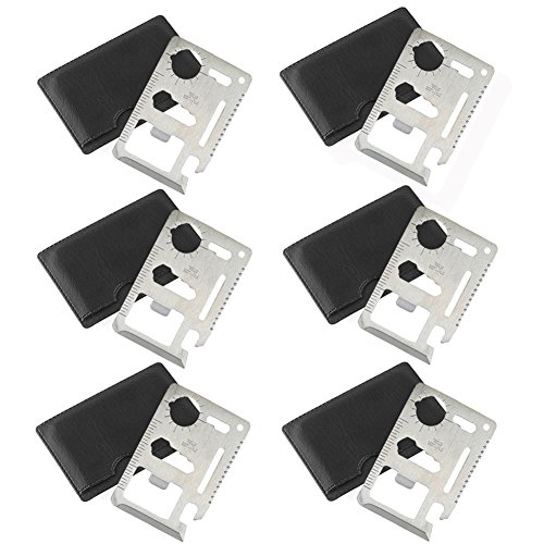Credit Card Survival Pocket Wallet EDC Tool ( 6 pcs ) Thick Stainless Steel / Inch Scale Gifts for men