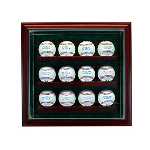 Perfect Cases 12 Baseball Cabinet Style Display Case with Hinged Door and Suede Backing