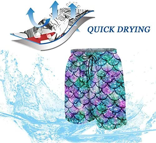 Multicolored Glowing Mermaid Swimming Trunks for Men Beach Shorts Quick Dry Summer Swim Short Casual Shorts Sports Shorts