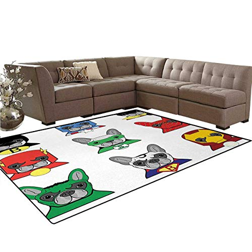 Superhero,Rug,Bulldog Superheroes Fun Cartoon Puppies in Disguise Costume Dogs with Masks Print,Home Decor Floor Carpet,Multicolor,6'x8' for $<!--$141.60-->