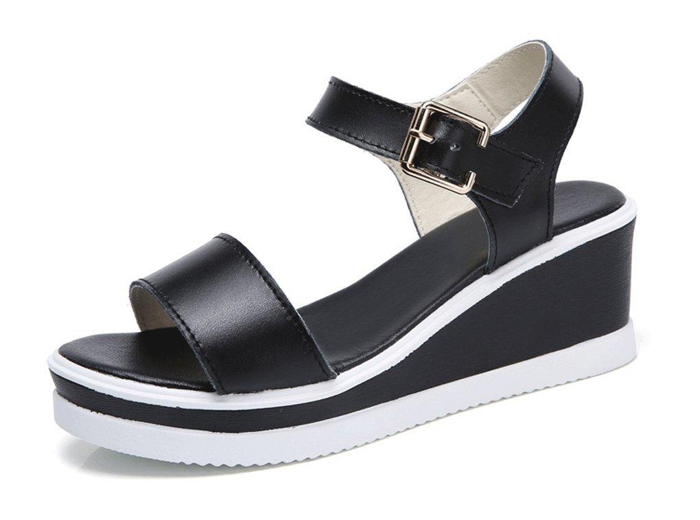 HJHY® Sexy Sandalias de Verano para Mujer Sandalias de Cuña Sandalias con Punta Abierta 38 EU|Negro