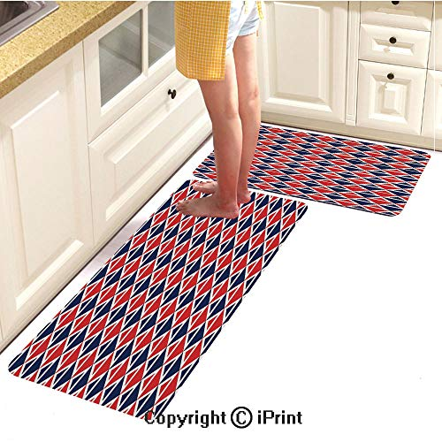 Flannel Kitchen Carpet,USA Flag Inspired Abstract Pattern Squares and Triangles Art Decorative,Soft Cushion Anti-Fatigue Floor mat,16