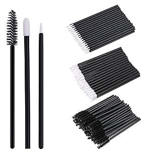 La Tartelette 150 Pieces Disposable Lip Brushes Eyeliner Brushes Eyelash Mascara Brushes Makeup Tool Kits, Black