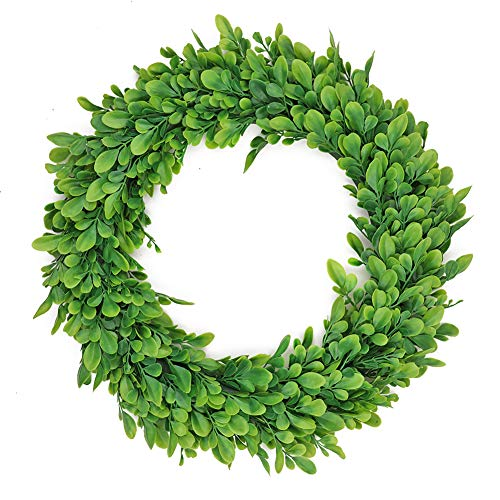 "LSME 15"" Preserved Artificial Boxwood Wreath,Fall Green Leaves Wreath for Front Door Hanging Wall Window Farmhouse Wedding Garden Home Décor Round Year Welcome Wreath from LSME"