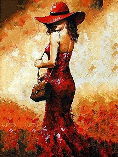 DIY Oil Painting Paint by Number Kits DIY Canvas Painting by Numbers Acrylic Oil Painting for Adults Kids Arts Craft for Home Wall Decor,Sexy Red Dress Dress Woman ()