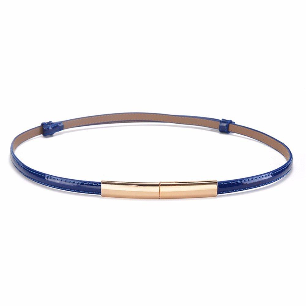 SAIBANGZI Ms Women All Seasons Decorate Women'S Belts Fine Leather Fashion Women'S Belts Girlfriend Present Blue 97Cm