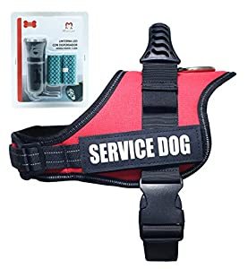Service Dog Harness Vest Medium - Retractable Heavy-duty Soft Adjustable Reflective Nylon Dog Training Vest Padded Dog Harness, Red