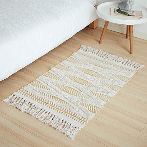 Wolala Home Cream White Tufted Cotton Area Rug 2X3 Yellow Geometric Shag Hand Woven Throw Rug with Fringe Anti-Slip pad Rag Rug for Bedroom Living Room Bathroom Kitchen Laundry Dorm