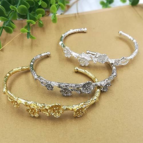 Gold, Silver, White Filigree Flower Bangles | Metal Alloy Bracelets | for Women Jewelry (66x55mm, 5pcs)