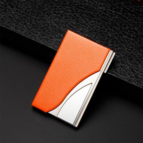 Titular de la tarjeta Morwind Cuero de acero inoxidable titular de la tarjeta de nombre comercial de la tarjeta Naranja