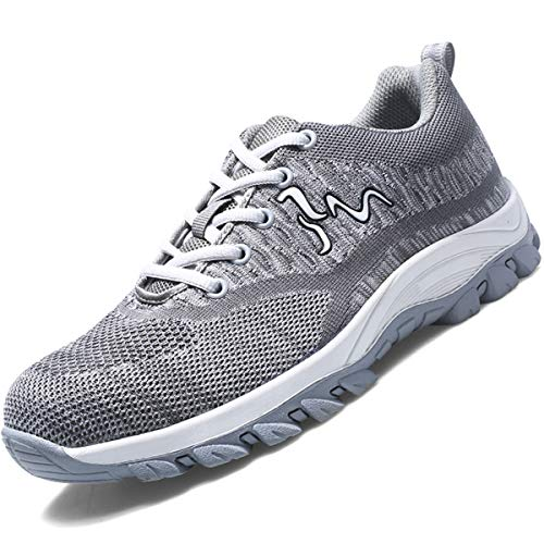 SUADEX Steel Toe Shoes Men. Women's Work Safety Industrial and Construction Sneakers. Outdoor Hiking Trekking Trail Composite Shoes-Grey 42