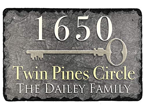 - Sassy Squirrel Beautifully Handcrafted and Customizable Slate Home Address Plaque (16