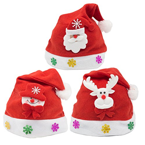 White Christmas Santa Hat - 3pcs Traditional Red and White Santa Claus Christmas Snowman Christmas Deer Hats,25×30cm.