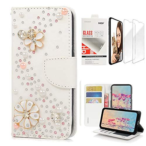 [해외]STENES Bling Wallet Case Compatible with Huawei P30 Lite 6.2 Inch 2019 - Stylish - 3D Handmade S-Link Flowers Design Leather Case with Wrist Strap & Screen Protector [2 Pack] - White / STENES Bling Wallet Case Compatible with Huawe...