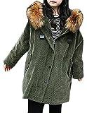 YUNY Girls' Loose Corduroy Faux Fur Hood Fleece-Lined Parka Jackets Army Green 6/7T