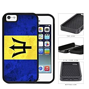 Barbados National Flag Blue and Yellow Grunge 2-Piece High Impact Dual Layer Black Silicone Cell Phone Case iPhone i5 5s