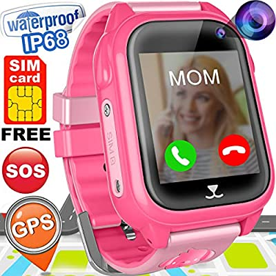 """Kids Smart Watch Phone with Free SIM Card GPS Tracker Watch for Girls Boys IP68 Waterproof Fitness Smartwatch Pedometer Camera Anti-Lost SOS Alarm Clock 1.54"""" Touch Screen Child Watch"""