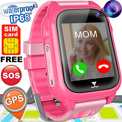 Kids Smart Watch Phone with Free SIM Card GPS Tracker Watch for Girls Boys IP68 Waterproof Fitness Smartwatch Pedometer Camera Anti-Lost SOS Alarm Clock 1.54