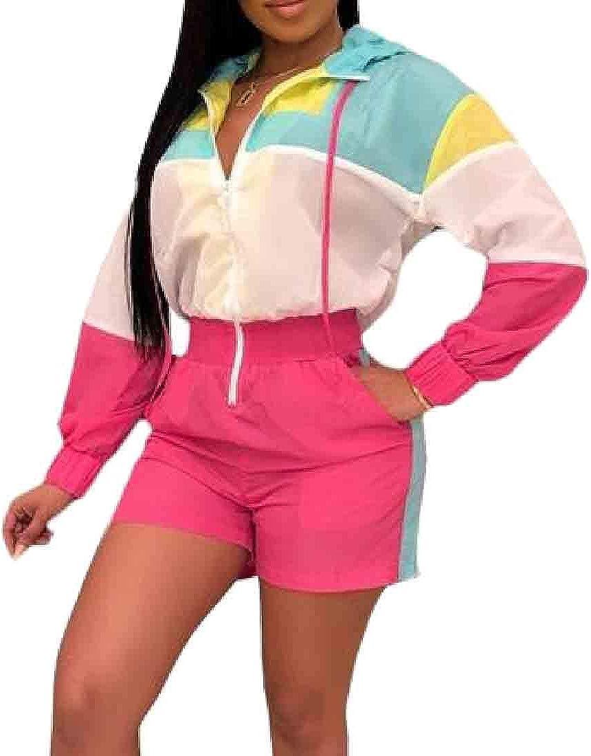 Pandapang Women Long Sleeve Color Block Semi Zipper Shorts Jumpsuits Rompers