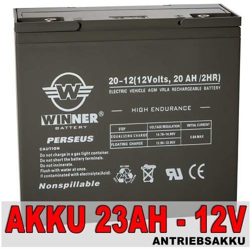 Akku 23Ah (20HR) 12V 20AH (2HR) AGM Blei Gel Antriebs Batterie Golf Caddy Trolley Boot