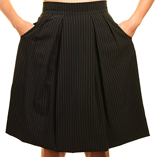 [Avital Juniors Pleated Aline Knee Length Pockets Skirt (Black Blue Pinstriped, Xlarge)] (Pinstriped Skirt Suit)