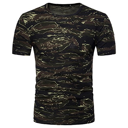 OrchidAmor 2019 New Men's Casual Camouflage Print O Neck Pullover T-Shirt Top Blouse Mens Moisture Wicking Shirts - New Style Race Car
