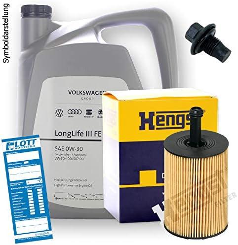 Ölwechsel Set Inspektion 5 Liter Original Vag Motoröl 0w 30 Motorenöl Hengst Ölfilter Öl Ablassschraube Verschlussschraube Auto