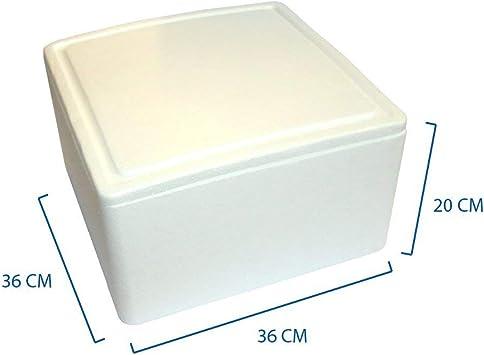 Paquete de 1 caja térmica blanca cuadrada de 36 x 36 cm y 20 cm de ...