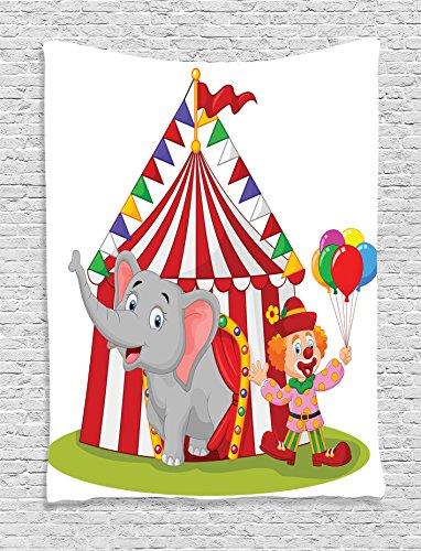 Tapestry Ambesonne Elephant Enjoyment Illustration