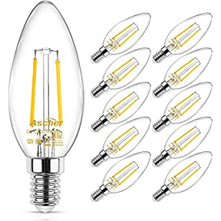 Ascher Classic E12 LED Candelabra Light Bulb, Equivalent 40W, Warm White 2700K, Filament Clear Glass, Non-Dimmable, Pack of 10