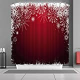 "VANCAR Waterproof Bathroom Decor Custom Xmas Merry Christmas Shower Curtain Sets with Hooks 66""X72"" White Snowflake Red Background Pattern Print"