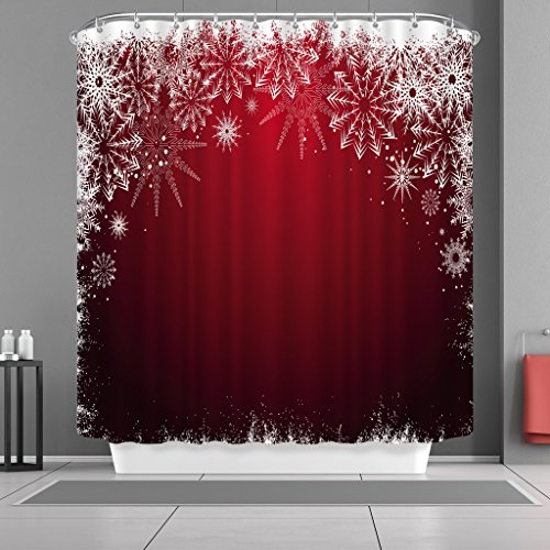 VANCAR Waterproof Bathroom Decor Custom Xmas Merry Christmas Shower Curtain Sets with Hooks 66X72 White Snowflake Red Background Pattern Print