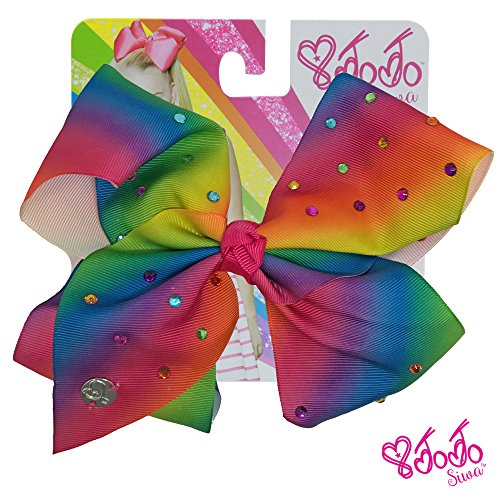 JoJo Siwa Signature Collection Hair Bow with All-Over - Multicolored Rhinestones in Rainbow - Sticker Patch Set Included