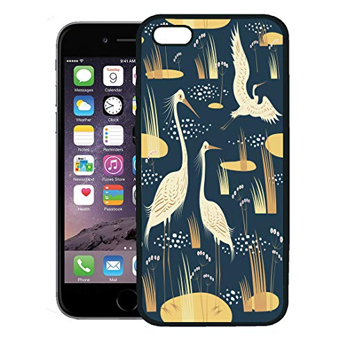 - Semtomn Phone Case for iPhone 8 Plus case,Blue Water Wading Birds Pink Swamp Heron Love Marsh River iPhone 7 Plus case Cover,Black