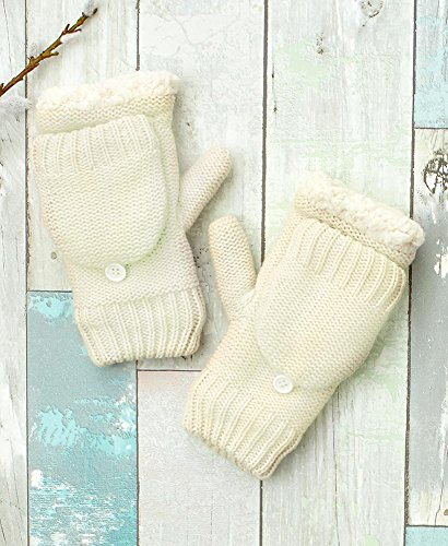 Womens Berber Lined Flip Top Gloves Cream One Size Fits Most by LTD