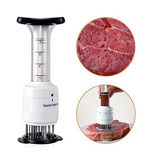 Hinsper Meat Tenderizer, Meccion Profession 2 in 1 Sauce Meat Injector Marinade Syringe (3 Oz), Health Meat Pine Needles Tools for Enhance the Flavor and 30 Stainless Steel Needles by Hinsper