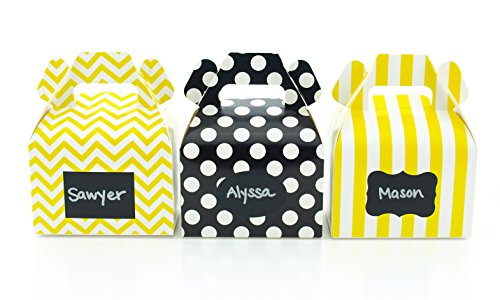 Bumblebee Party Favor Boxes & Black Label Chalkboard Vinyl Stickers (36 Pack) - Yellow & Black Bumble Bee Party Decorations, Birthday Favor Candy Boxes, Honey Bee Party Supplies (Favor Labels Oval)
