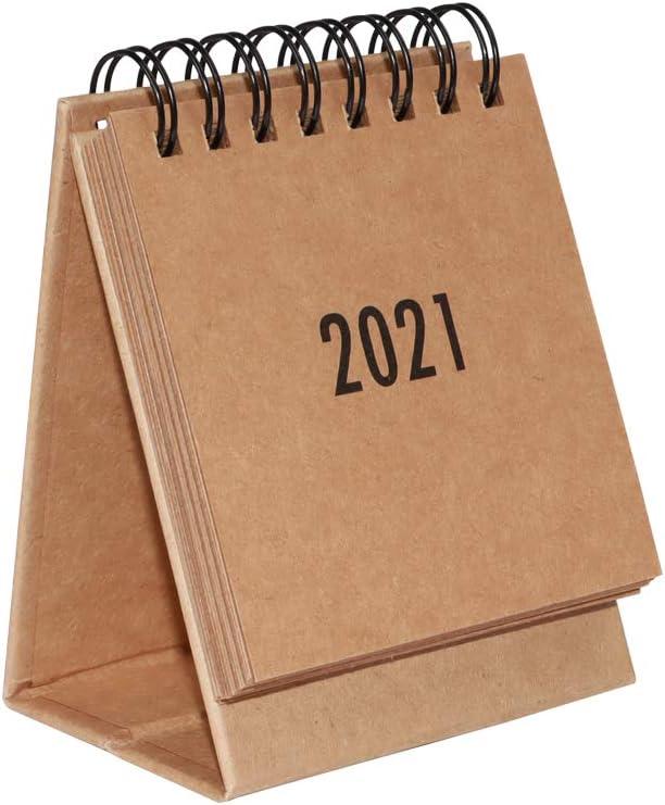 2020-2021 Yearly Mini Desk Calendar Steel Coil Spiral Table Desktop Self Standing Easel Flip Calendar Pad 3.7 x 2.95 Inches (Kraft Paper)
