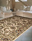 Nourison India House (IH47) Ivory/Gold Rectangle Area Rug, 5-Feet by 8-Feet  (5' x 8')