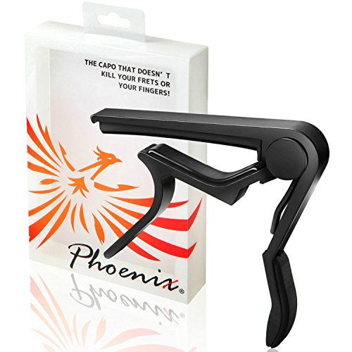 Phoenix One Touch guitar capo, guitar maintenance fiber cloth, and maker's guarantee: three item set! (For use with folk guitars , electric guitars , classic guitars and acoustic guitars) Black