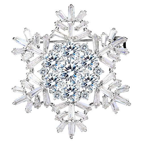 EVER FAITH Women's Cubic Zirconia Winter Snowflake Flower Brooch Pin Clear Silver-Tone