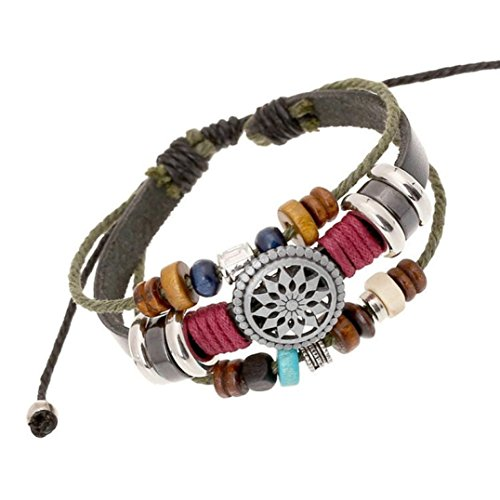 DondPO Vintage Bohemia Wind Colorful Beaded Multilayer Hand Woven Jewelry Bracelet for Women Men Link Wrist Stretch Chain Bracelet Set (Alert Leather)