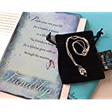 Smiling Wisdom - Blue Silver Leaf Necklace Friendship Gift Set - Reason Season Lifetime Friendship Greeting Card - Unique Gift Set For Best Friend BFF Bestie Woman - Silver Blue