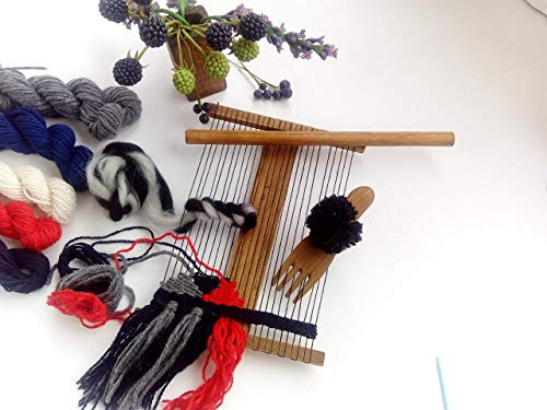 Weaving Loom Kit, Tapestry Loom For Adults With Instruction, Tools, Yarn Set, Wooden Hand-Knitting Machine (6